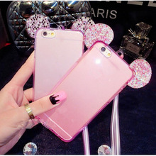 Crystal Clear TPU cover 100% fit for iphone 6 cover diamond mobile phone cover for girl