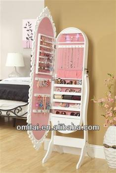 Jewelry cabinet for collection function with floor mirror