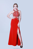Evening Dress sexy High Split Low Back Ladies Women Prom Ball Party Woman Long Dress