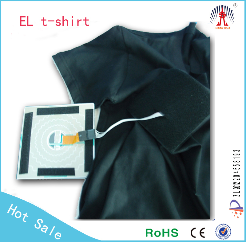 High brightness long life flashing EL T shirt with different shape and colors! Sound activated!