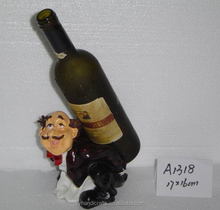 antique imitation resin chef statues wine bottle holder for sale