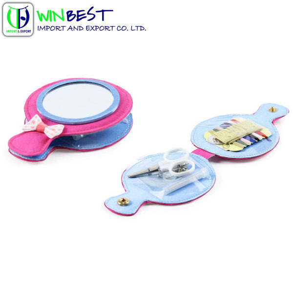 High Quality Sewing Kit With Unique Mirror And Bowknot Portable Package For Children And Gift