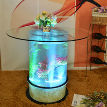 Excellent quality colorful light Oval aquarium led lighting table large round acrylic aquarium