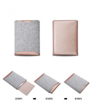 Boshiho Best Quality Crazy Horse PU Leather Grain Microfiber Felt Protect Pouch Case for Macbook Sets Laptop Messenger