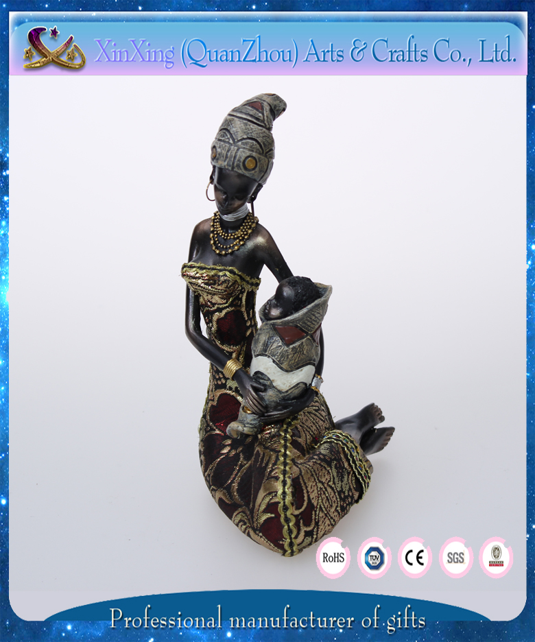 home decoration sexy african lady resin figure
