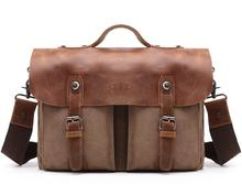 Canvas with leather waterproof briefcase rolling laptop bag