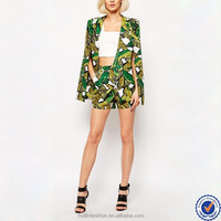 trendy business suits for women collarless cape leaf print women blazer suit