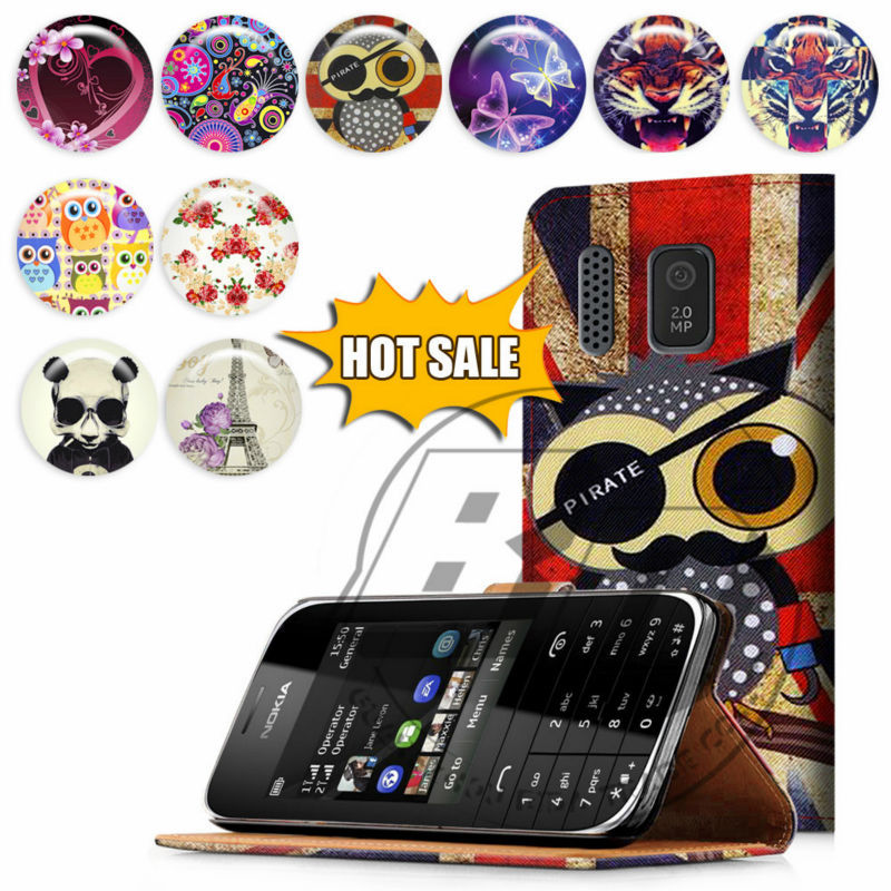 For Nokia Asha 202 High Quality Print Card Holder Flip PU Folio Wallet Leather Case Cover Moible Phone Csae