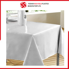 Newly Plain Designs PEVA Flannel White Plastic Tablecloth