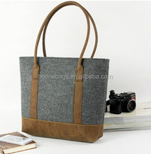 Shoulder Ladies eco-friendly felt tote bag with Retro Leather Straps