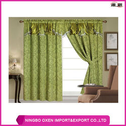 Polyester Yarn Dyed Jacquard Window Curtain With Valance and Lining
