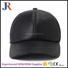 Winter high quality plain 6 panel wholesale leather baseball cap custom leather hats