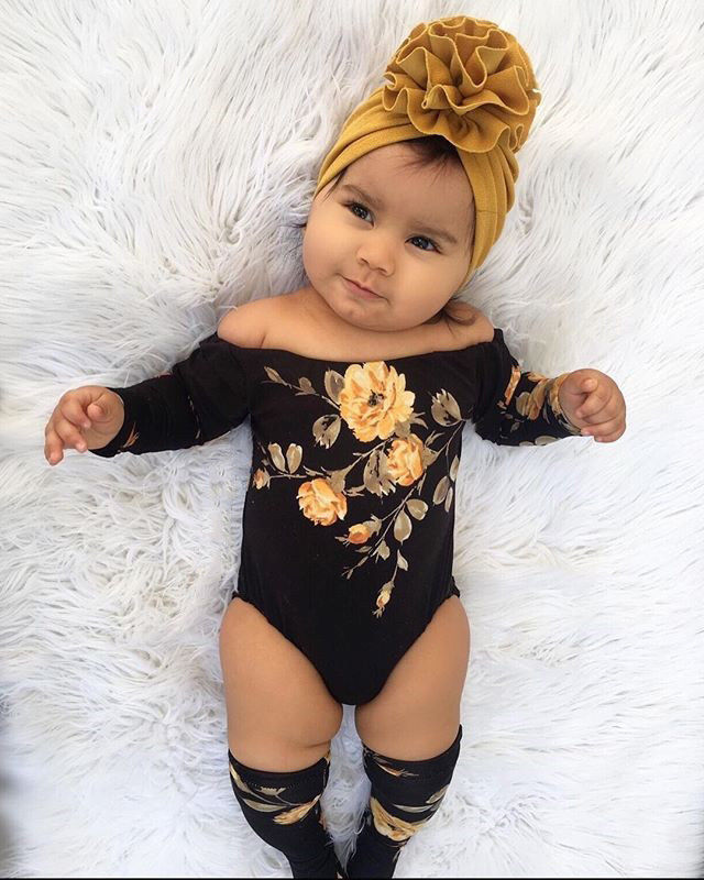 Newborn <strong>Baby</strong> Girl Off Shoulder Flower Romper+Leg Warmers Outfits Clothes