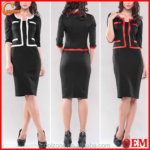 Elegant contrast ladies office suit fashion stylish woman suit 2015