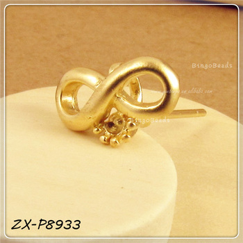 Fashion Copper Gold Silver-tone Metal Infinite Infinity Sign Stud Earring