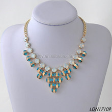 Peacock Royal Blue Crystal Charm Solid Opal Bib Necklace Fashion Jewelry