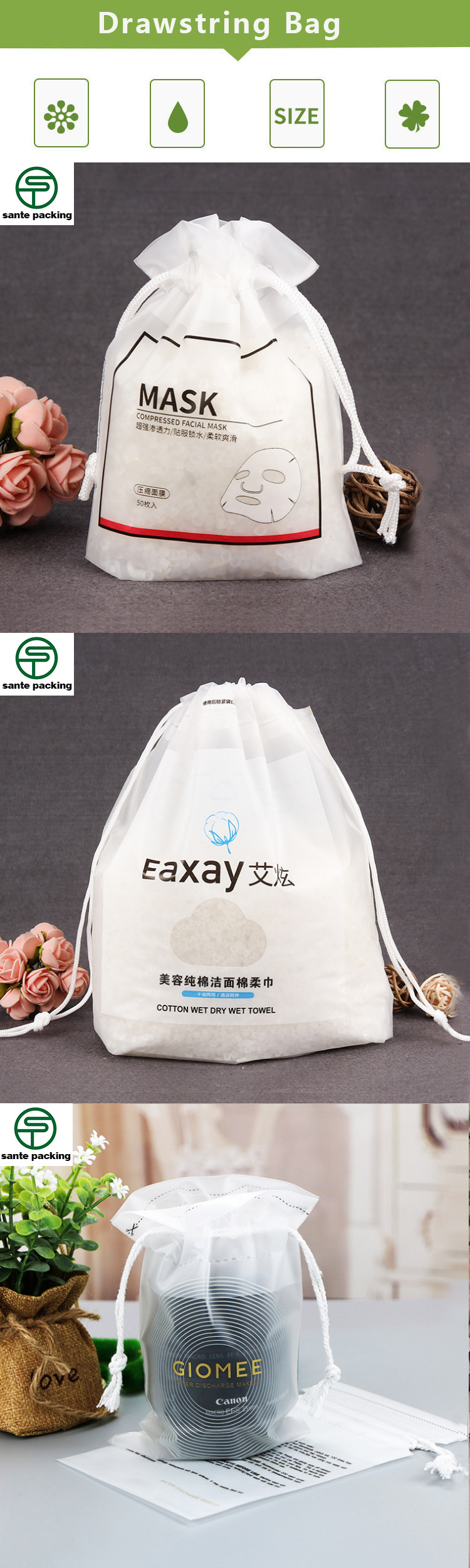 custom print Japan biodegradable compressed drawstring plastic bags with own logo
