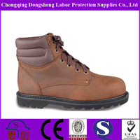 crazy horse leather PU outsole goodyear welt safety boots
