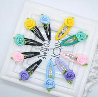 Girls Spring Colours Flower Ribbon Hair Snap Clips for Baby