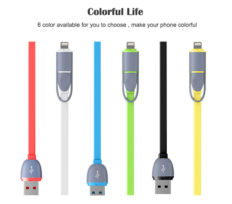 1M Colorful Retractable Flat Noodle Data Line 2 In 1 Usb Cable For Mobile