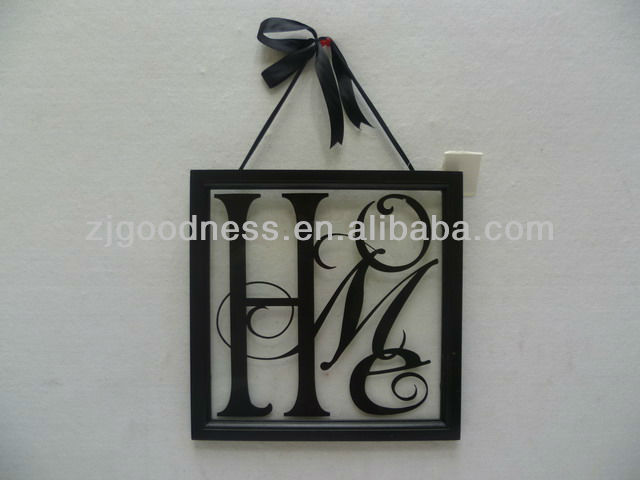 Good Sale 12'' Black Square Wooden/Glass Frame Wall plaque Wish Words Sign