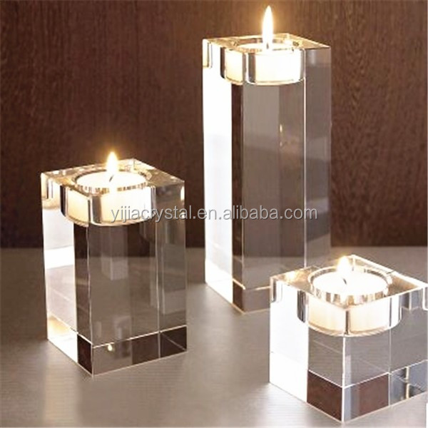 Square crystal Table Tealight Candle Holders