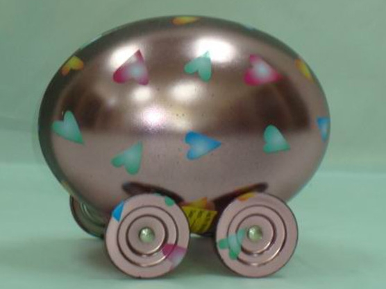 Car shape tinbox -easter egg car tinbox