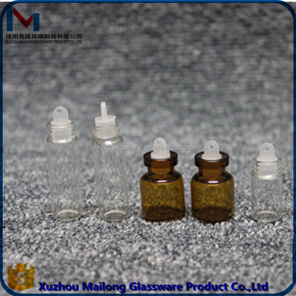 Wholesale 1ml amber glass vial, mini essential oil bottle with screw cap