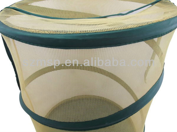 Cylinder Nylon Mesh Foldable Laundry Basket/ Laundry Bag, Sedex 4, REACH