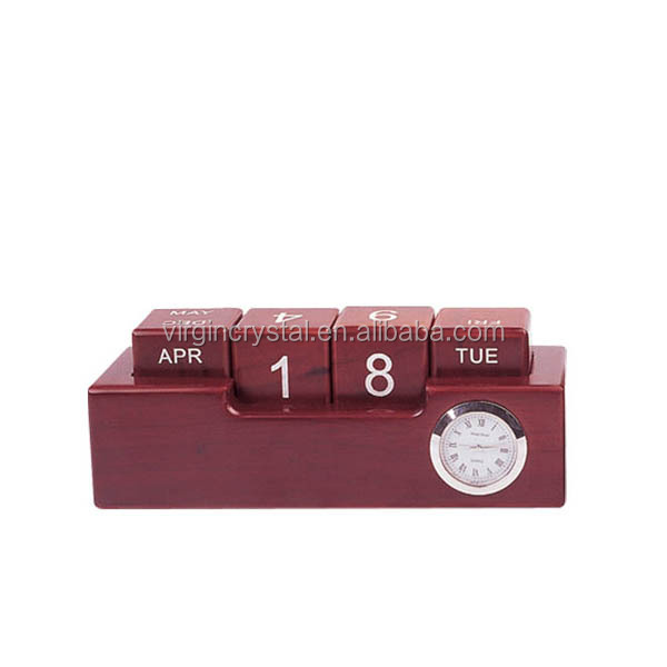 Hot Sale Wooden Office Gifts with Clock, Cube Date Recorder for Office Favor