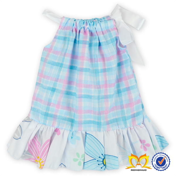 Latest Fashion Summer Dresses Girls Pink And Aqua Plaids Cotton Ruffle Dress Kids Frock Designs Dress Pictures