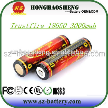 Trustfire 3000mah 3.7v battery 18650 protected with PCM