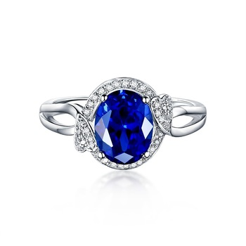 Wholesale 18K White Gold Genuine Tanzanite Jewelry Diamond Stone Ring