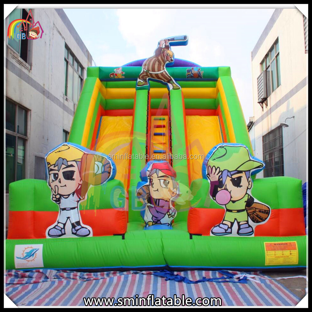 Inflatable slide, inflatable dual lane slide with baseball player for sale