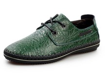 Factory direct sales nice quality green crocodile grain leather shoes men loafer shoes