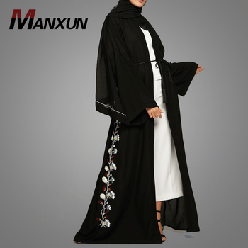 New Arrival Model Dress Kebaya Modern Fashion Embroidery Design Black Kimono Abaya Muslim Casual Abaya