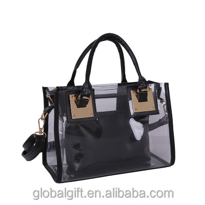 Stylish waterproof transparent Clear PVC tote bag hand bag set