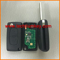 0536 433Mhz PCB ID46 chip flip remote car key of ABS with logo car key blanks wholesale for Peugeot 206 307 207 407 408 406 306