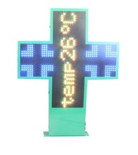 Hidly P10 Full-Color Programmable 38*38 Inch Outdoor Waterproof Double Side LED Pharmacy Cross Sign Board For Pharmacy& Church
