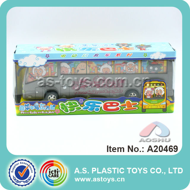 Super cool design plastic vehicle model toys B/O happy toy bus with safety material