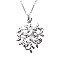 Wholesale olive leaf 925 sterling silver necklace & pendant with 18k white gold plated fine jewelry for women
