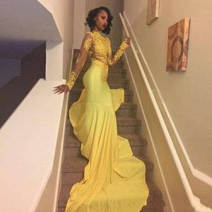ZH3017G Pretty Yellow African Lace Appliqued Prom Dress Mermaid Long Sleeve Banquet Evening Party Gown Plus Size South African
