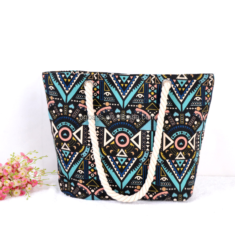 Yiwu Market Wholesale geometric <strong>Design</strong> Printed Canvas Girls Beach Bag with cotton rope handles