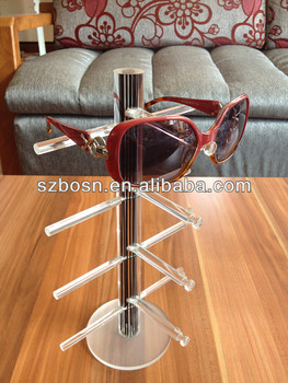 Black Crystal Rod Plexiglass Glasses Stand
