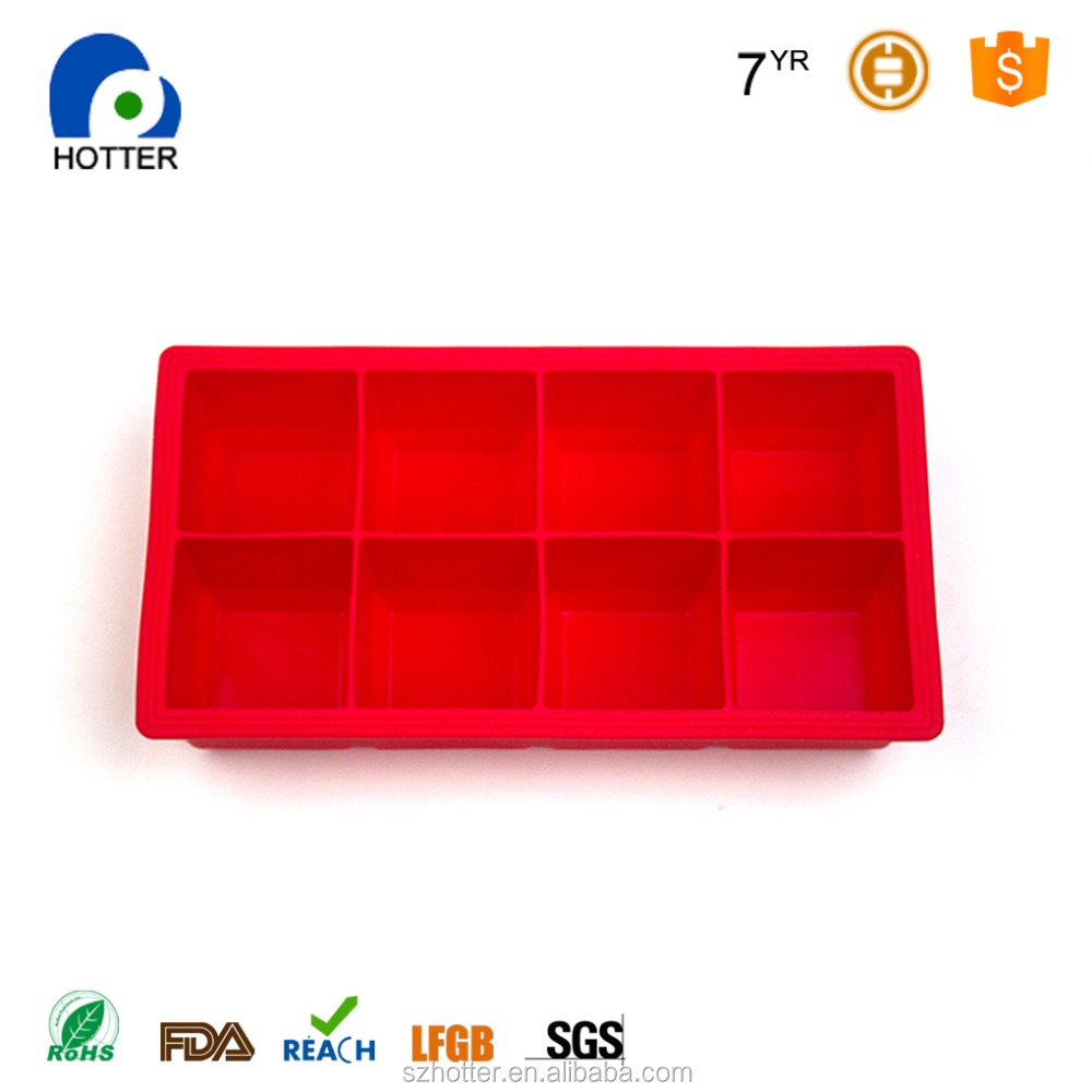 Large freezer whiskey and cocktail size silicone 8 cavity Ice cube tray