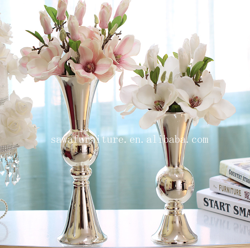 Gold metal trumpet vase flower stand wedding table centerpiece for wedding