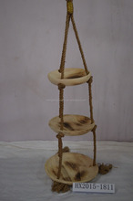 Hot sale Round Wooden 3 Tier Cheap Hanging Basket