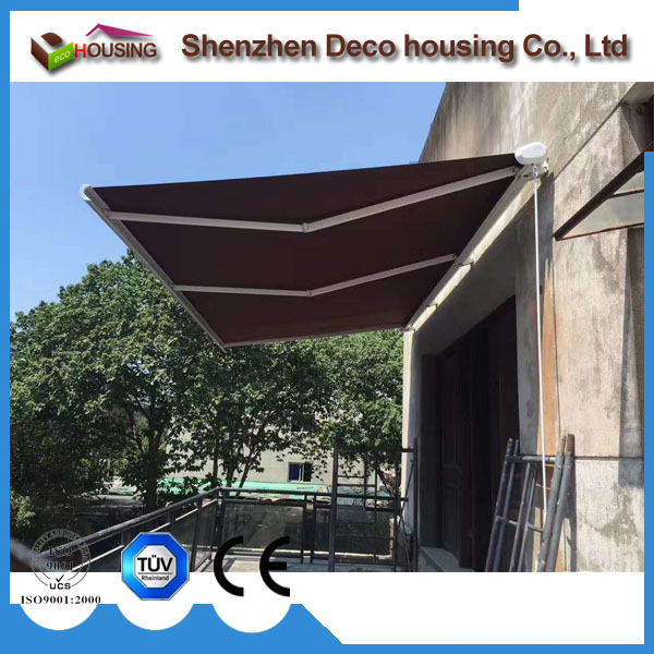 Custom printed 2014 classical outdoor heavy duty full cassette retractable awning #dx600 car price #dx400 deck