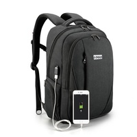 Anti Thief Water Resistant Slim Business Laptop School Backpack with USB Charging Port Fit 15.6 Inch MacBook Computer