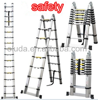 Telescopic ladder extension ladder, double sides with hinges, 1.3-1.5mm thickness